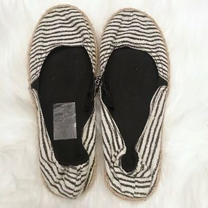 *NWT* H&M Striped Canvas Espadrille Flats